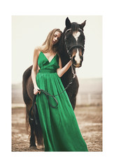a gentle december (schaharazad) Tags: horses blackandwhite horse field rose sarah dress farm review smiley gown conceptual allegra schaharazad