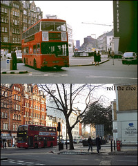 Neathouse Place`1980-2012 (roll the dice) Tags: plaza uk travel trees cinema bus london art classic buses westminster hotel md traffic transport victoria passengers collection flats queenspark shops streetfurniture 1980 demolished pimlico sw1 oldandnew roundel dwelling pastandpresent londonist hereandnow goahead wiltonroad datsunlaurel