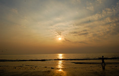 walk on the beach ([s e l v i n]) Tags: sunset sun india walk bombay mumbai versova walkonthebeach versovabeach ©selvin manwalkingonthebeach