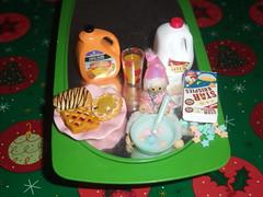 elf breakfast 023 (cheredoll) Tags: pink green glass fruit table milk box cereal spoon bowl danish oj