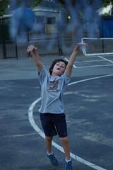 It's Up... (spinadelic) Tags: park boy summer net sports playground basketball rock kids forest children shoes little action gray tshirt nike shooting arkansas asphalt 2012 stevespencer