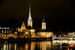 Fraumünster, St Peterskirche and Limmat River in Zurich Switzerland at Night (mbell1975) Tags: old our tower clock church water st lady night river lights schweiz switzerland evening town suisse bell dusk dom zurich large kirche chapel steeple clear gross zürich frau minster altstadt schweizer munster kirke kapelle limmat peterskirche fraumünster cantonofzurich ilobsterit