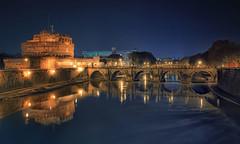 veduta romana (invitojazz) Tags: rome roma castle night lights nikon ponte tevere luci notte castel santangelo d90 invitojazz vitopaladini