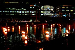 The WaterPlace Park Basin blazing away.