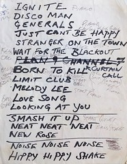 The Damned set list. The Living Room Providence, R.I. Monday, 6/13/1983 (Jim Harris: Artist.) Tags: the damned punk england 1977 1983