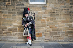 The Lone Piper (spcoonley) Tags: fujifilm fuji xe2 xf23mmf14 edinburgh scotland bagpiper bagpipes street performer fringe festival 2016 royal mile