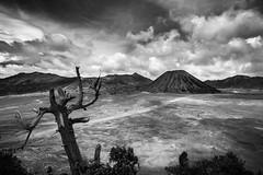 Bromo, Indonesia (pas le matin) Tags: bromo indonesia indonsie asia asie souteastasia travel voyage volcan volcano landscape paysage bw nb blackandwhite noiretblanc monochrome cloud clouds cloudy nuage nuages outdoor crater world 7d canon7d canoneos7d