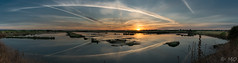 Panoramic sunrise (mathieuo1) Tags: panorama nature park sun sunrise dlsr colors blue island lake ocean water orange clouds sky beautiful crazy summer france europe peace reflexion landscape seascape travel vacations symmetry shadow