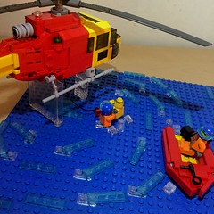 'Play It Safe By the Water' (LonnieCadet) Tags: lego bricks 2016 australia victoria heli helicopter rescue surf water moc custom boat lifesaver 36 squirrel as350 eurocopter irb emergency