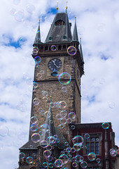 Prague Old Town Hall tower with bubbles (Matthew Usher) Tags: prague praha czech republic europe travel olympus holiday explore town hall bubbles tower clock