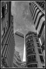 Lloyd's Building on right with Walkie Talkie in background. (jim_2wilson) Tags: wideangle bw lloydsbuilding lloydsoflondon jimwilson hdr photomatixproversion505 dxoopticspro architecture london sonya99 minolta1735mmf284