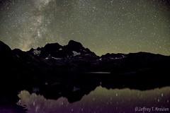 Milky Way over Banner Peak, Ansel Adams Wilderness (Jeff Kreulen) Tags: california anseladamswilderness johnmuirtrail garnetlake reflection star milkyway night inyonationalforest sierranevada snow