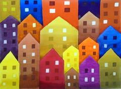 Houses, by Marina - DSC03837 (Dona Mincia) Tags: art painting watercolor study paper houses homage inspired tribute volpi relecture rereading arte pintura flag aquarela casinhas casas homenagem inspirado releitura