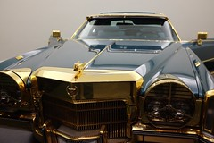 Hayes's ride (pburka) Tags: gold blue custom cadillac car antique motorcar shiny driving wheels headlights grill badge hood ornament stax museum memphis tennessee tn