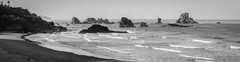 Indian Beach Wide (JamesInDigital) Tags: oregon oregoncoast pacificnorthwest oregonphotography ocean surf sand waves rocks rockformations nikon p900 nikonp900 blackandwhite blackandwhitephotography