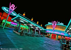 All Roads Lead to Flo's...[Explore] (Ring of Fire Hot Sauce 1) Tags: night restaurant neon diner hdr disneycaliforniaadventure flos flosv8cafe carsland
