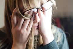 (evilibby) Tags: glasses hands fingers hide tired blonde libby 365 hiding stress mybedroom hemma rarrr 3655 365days 365days5