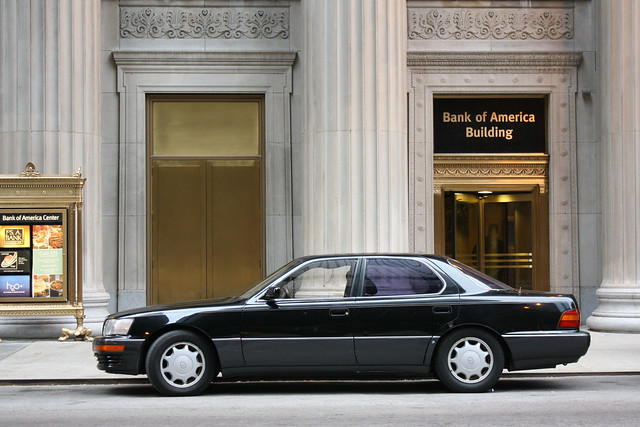 street city november autumn urban chicago black building fall beautiful car sedan japanese illinois downtown loop jackson 1993 400 clark storefront bankofamerica toyota parked 1991 1992 1989 1994 kerb curb import luxury ls 1990 2012 lexus ls400 4door worldcars