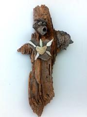 """Driftwood Art """"The Sacred Heart Cross"""" (Doctor Driftwood) Tags: wood art nature cross natural handmade crafts craft driftwood homemade doctor naturalart reclaimed natureart driftwoodart doctordriftwood"""