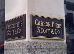 Remnants of Carson's (artistmac) Tags: signs chicago sign architecture plaque corner carson scott louis illinois downtown loop traces il sullivan brass remnants cornerstone plaques pirie