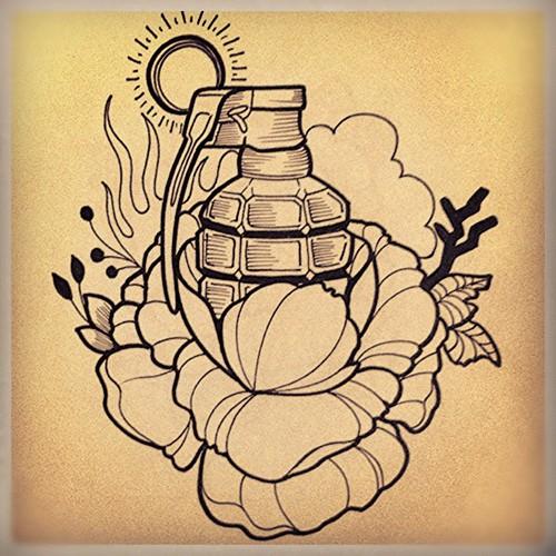 Design Flower Granade Design Diseno Pen Sharpie Artist Ink