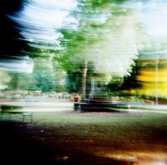 Apparition (liquidnight) Tags: longexposure brown distortion blur film monument cemetery graveyard oregon analog mediumformat portland hoodie holga lomo xpro lomography crossprocessed memorial kodak military ghost toycamera lightleak mementomori pdx analogue phantom noise expired anonymous visitor vignetting ektachrome e100gx apparition 120n lonefircemetery