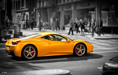 Yellow Ferrari in Cologne (hundephotografie) Tags: color yellow canon eos key bokeh shift ferrari ii 18 50 tilt ef 50d