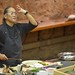 Chef Morimoto creating a three-course meal