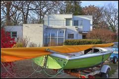 Composition (ioensis) Tags: november our house composition sailboat boat bush neighborhood mo burning missouri sail chrysler residence webster groves 2012 jdl ioensis 24041336067tmtc1b