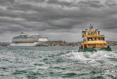 Voyager and Friendship (scatrd) Tags: ferry sydney australia nsw cruiseship hdr sydneyharbour hdri 2012 sydneyferry voyageroftheseas hdrphotography