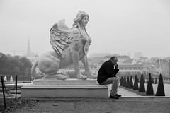 phone (JoshJStride) Tags: vienna christmas autumn blackandwhite bw statue garden europe phone culture belvedere wein
