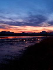 Reflective Sunset (EmreKanik) Tags: light sunset red mountain reflection water night river landscape bay scenery cloudy korea southkorea suncheon tumblr