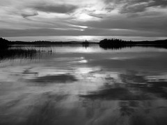 Pelican Lake sunset B & W (Tee Flemming) Tags: autumn sunset lake clouds october pelicanlake octobersunset siouxlookout