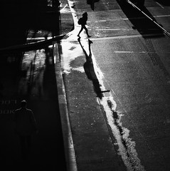 Larger than life (. Jianwei .) Tags: street morning light shadow urban wet look vancouver mood walk candid atmosphere line  waterfrontstation largerthanlife a55 kemily