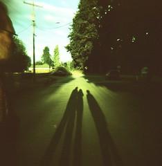 We Three (liquidnight) Tags: road street light selfportrait film oregon analog mediumformat evening lomo xpro lomography crossprocessed fuji shadows susan toycamera powerlines velvia diana cables wires benjamin analogue fading grainy dianaf goldenhour pioneerpark willamettevalley rvp50 stayton