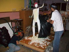 Sioux-per Boy life-size bronze sculpture. The initial stage of creating the foam cores. (LanzM) Tags: travel sculpture bronze southdakota blackhills flying dance airport globe handmade aviation indian nativeamerican sd suitcase bustle rapidcity sculptor moccasins sioux lakota comingofage modelairplane bicultural popularsciencemagazine lifesizesculpture mattlanz