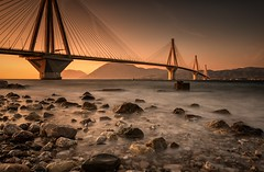 Sunset Seascape (Christophe_A) Tags: bridge sunset bw seascape rio night tripod clear greece nd christophe grad patra 15sec 2470 gefyra explored nd110 christopheanagnostopoulos χριστοφοροσαναγνωστοπουλοσ χριστόφοροσαναγνωστόπουλοσ