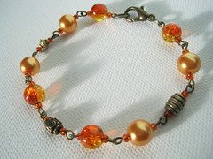 Bracelet  - Antique Orange (Gems and Flutterbys Jewellery) Tags: christmas xmas orange handmade jewellery bracelet pearl bracelets beaded facebook glassbeads jewlry gemsandflutterbys gemsflutterbys