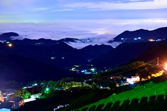 Nightfall at tea field@ (Vincent_Ting) Tags: sunset sky clouds taiwan  formosa  jiayi   seaofclouds alisan    teafield