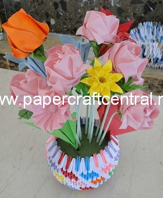 Hot sale flower vase handmade by 3d origami paper Child Craft ... | 408x336