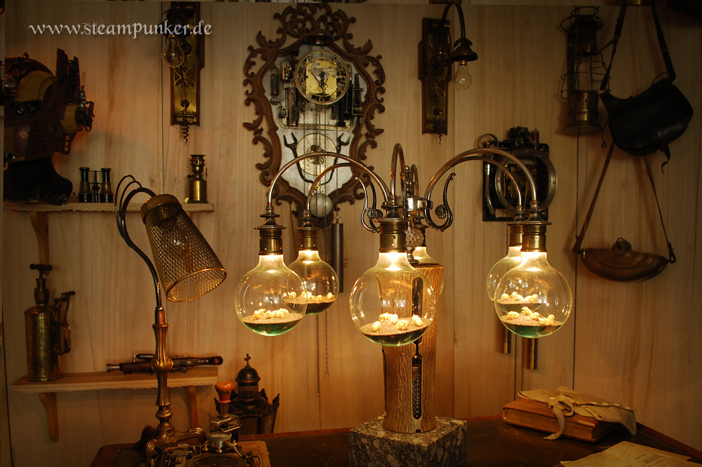 steampunk lampe table lamp artwork tags germany insects bulbs glas bauen