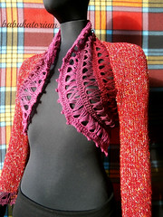 """Mulled Wine"" - Knitted Bolero With Crochet Broomstick Lace Decoration (babukatorium) Tags: blue red orange white color green art wool thread fashion yellow vintage gold sweater rainbow colorful warm purple recycled handmade lace burgundy oneofakind crochet moda violet knit style used cotton romantic knitted cardigan bohemian multicolor shrug striped whimsical maglia bolero haken hkeln croch ganchillo uncinetto cotone fattoamano lam  coprispalle tii horgolt babukatorium"