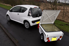 Citroen C1. Small car and trailer. (CWhatPhotos) Tags: pictures city camping white glass car that photography foto with image pics small citroen picture pic olympus images have photographs photograph fotos behind trailer splash pulling which tow contain hitch towing compact hitched c1 onto fibre fibreglass cwhatphotos epl3 trailerformotorcycle trailerforcamping