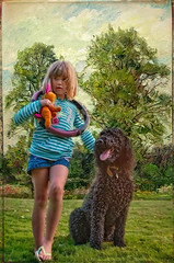 Poodle's Best Friend (jta1950) Tags: dog chien pet pets painterly cute dogs girl kids children kid child framed adorable canine poodle younggirl 5yearold blackpoodle pareeerica