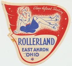 Rollerland - East Akron, Ohio (The Cardboard America Archives) Tags: ohio vintage label skating east skate roller akron rollerland skateyourdate
