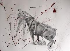 Parry (www.kevinmaxwellsfineart.com) Tags: bulls bullfighting josetomas graphite chinagraph blood anegitive blackandwhite toros torosymatadores matadores drawing spanish espana