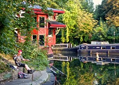 Magical fishing at  (Englepip) Tags: redhead fishing fisherman  fengshangprincess restaurant fairytale elfish puppetry rod canal floating sunset regents london water sunlight landscape urban trees light reflection character boat barge magical fantasy faerie