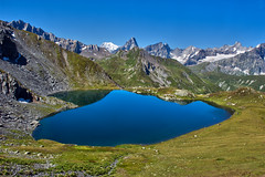 Heart shaped lake. Lac de Fentre   and the Mont Blanc Massif. No. 2432. (Izakigur) Tags: myswitzerland musictomyeyes montblanc lasuisse laventuresuisse liberty lepetitprince lacdefentre lac wallis water valais valferret feel ferret hiking swiss suiza suisia suizo schweiz dieschweiz d200 nikkor nikond700 nikkor2470f28 ilpiccoloprincipe lachaux izakigur alps alpes alpen alpi ch cantonduvalais europa fentre heart cl thevalais kantonwallis