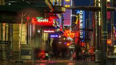 Granville Street (Sworldguy) Tags: vancouver granville street streetview neon lights sidewalk lowpov dusk storefront signage nightphotography streetphotography nikon d7000 dslr downtown cityscape cityscene citylights vancitybuzz retail night nightlife