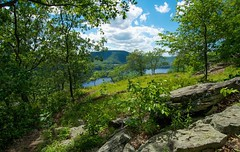 Passage (kirstenscamera) Tags: mountain newyork hudsonhighlands hudsonvalley ny bearmountain campsmith anthonysnose hudsonriver river water hike trail path passage nikon outdoors outside serene green sky clouds rock climbing climb forest woods ascent ionaisland trees happiness